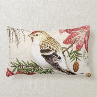 modern vintage french winter bird lumbar pillow