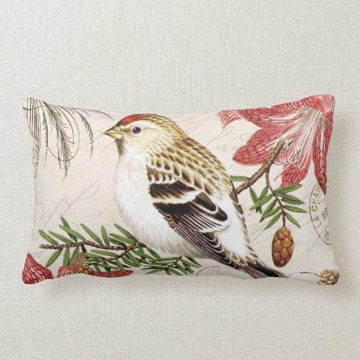 modern vintage french winter bird lumbar pillow Zazzle