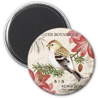 modern vintage french winter bird refrigerator magnets