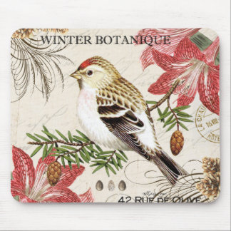 modern vintage french winter bird mouse pad