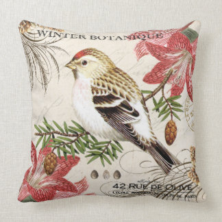 modern vintage french winter bird throw pillow