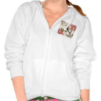 modern vintage french winter bird hooded sweatshirt