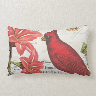 modern vintage french winter cardinal lumbar pillow