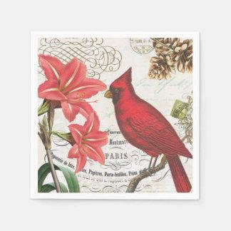 modern vintage french winter cardinal paper napkin