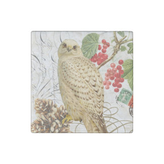 modern vintage french winter owl stone magnet