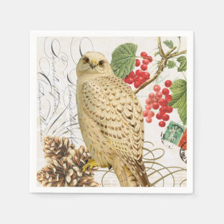 modern vintage french winter owl paper napkin