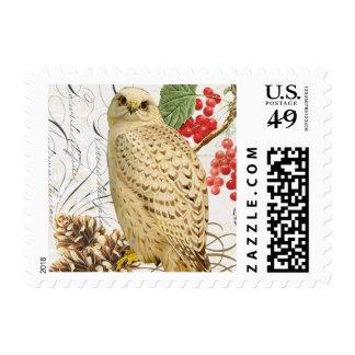 modern vintage french winter owl postage