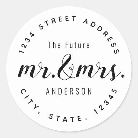 Modern Vintage Future Mr. Mrs. Wedding Address Classic Round Sticker