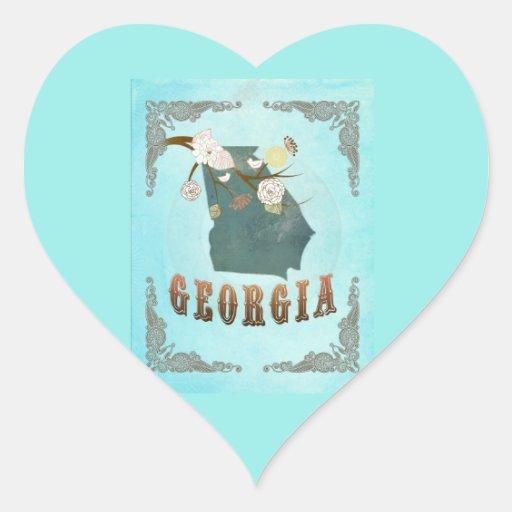 Modern Vintage Georgia State Map – Aqua Blue Heart Sticker
