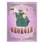 Modern Vintage Georgia State Map- Grape Purple Postcard
