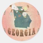 Modern Vintage Georgia State Map- Pastel Peach Classic Round Sticker