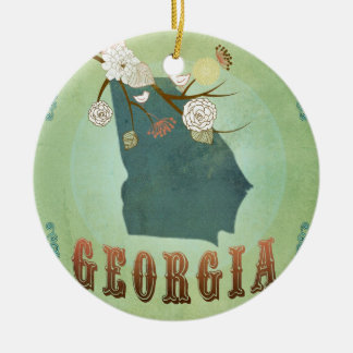 Modern Vintage Georgia State Map – Sage Green Double-Sided Ceramic Round Christmas Ornament