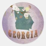 Modern Vintage Georgia State Map- Sweet Lavender Classic Round Sticker