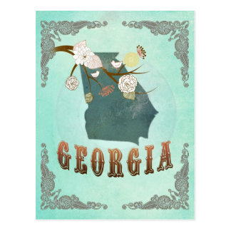 Modern Vintage Georgia State Map – Turquoise Blue Post Cards
