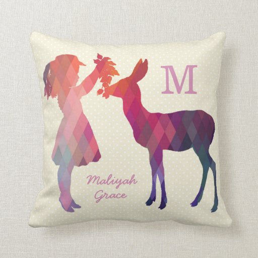 Modern Vintage Girl and Deer Monogram Throw Pillow