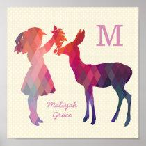 Modern Vintage Girl and Deer Nursery Wall Print