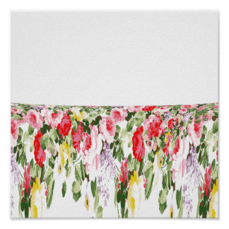 Modern vintage girly pink bright floral pattern poster