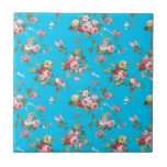 """Modern Vintage Girly Pink Red Roses Floral Ceramic Tile<br><div class=""""desc"""">An elegant girly pink and red cute roses floral pattern. A modern vintage colorful roses pattern design on turquoise background. Get this shabby chic girly pink pretty roses floral pattern for her on any occasion. The perfect romantic gift idea.</div>"""