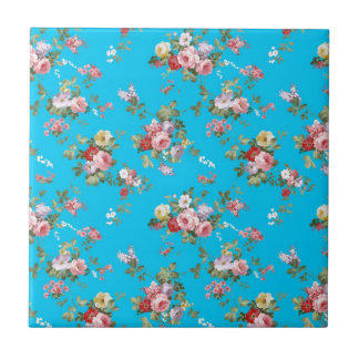 Modern Vintage Girly Pink Red Roses Floral Small Square Tile