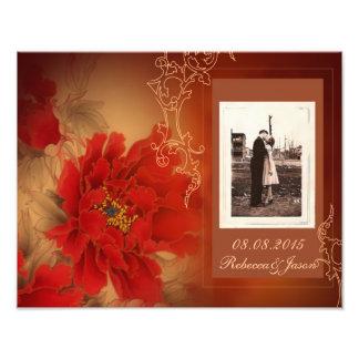 modern vintage gold burgundy floral save the date photo print