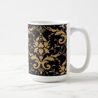 Modern Vintage Gold Damask on Black Mug