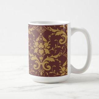Modern Vintage Gold Damask on Brown Mug
