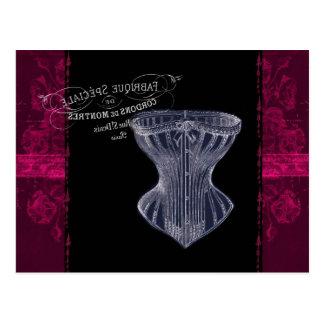modern vintage gothic steampunk French corset Postcard