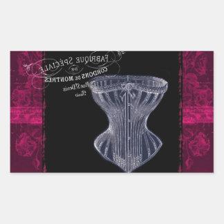 modern vintage gothic steampunk French corset Rectangular Sticker