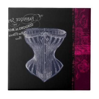 modern vintage gothic steampunk French corset Tile