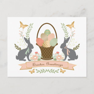 Modern vintage easter gifts on zazzle modern vintage graphic easter collage holiday postcard negle Images