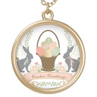 Modern Vintage Graphic Easter collage Round Pendant Necklace