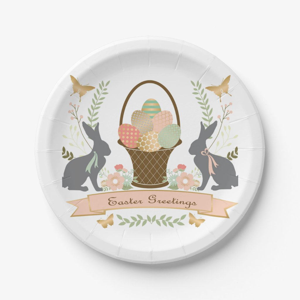 Modern Vintage Graphic Easter collage Paper Plate