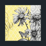 "Modern Vintage graphic floral stretched canvas<br><div class=""desc"">Modern Vintage graphic floral stretched canvas</div>"
