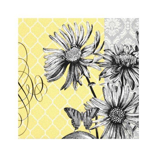 Black Flower 21st Century Op Art Set: Modern Vintage Graphic Floral Stretched Canvas