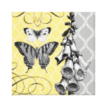 Modern Vintage graphic floral stretched canvas