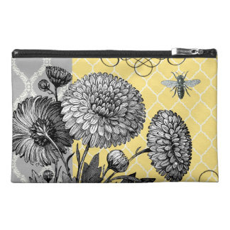 Modern Vintage graphic floral zipper bag Travel Accessory Bags