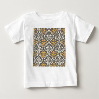 modern vintage grey and yellow damask baby T-Shirt