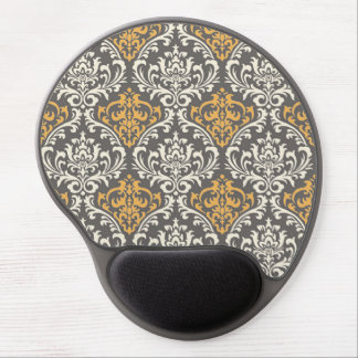 modern vintage grey and yellow damask gel mouse pad