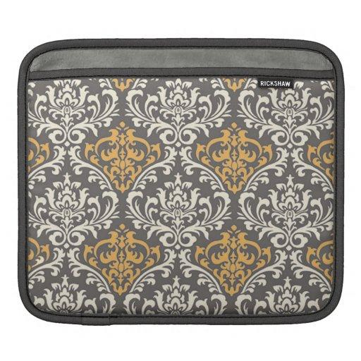 modern vintage grey and yellow damask iPad sleeve