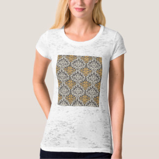 modern vintage grey and yellow damask T-Shirt