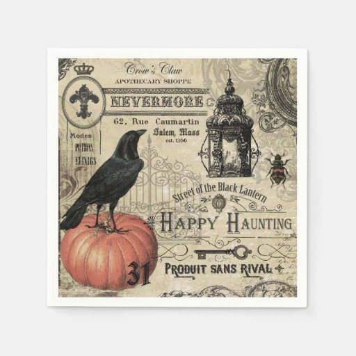 Crow And Cauldron Vintage Halloween: Modern Vintage Halloween Crow And Pumpkin Paper Napkin