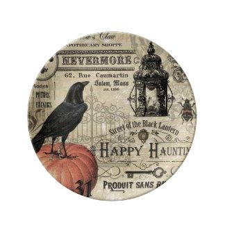 modern vintage Halloween crow and pumpkin Plate