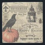 "modern vintage Halloween crow and pumpkin Stone Coaster<br><div class=""desc"">modern vintage Halloween crow and pumpkin</div>"