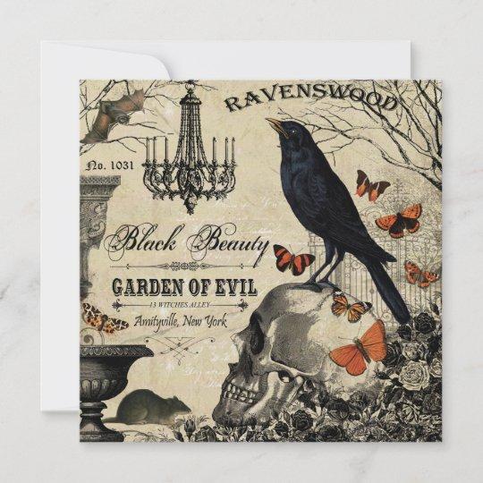 Crow And Cauldron Vintage Halloween: Modern Vintage Halloween Crow And Skull Card