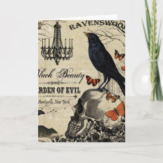 modern vintage halloween crow and skull card