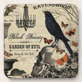 modern vintage halloween crow and skull coaster
