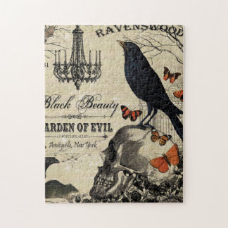 modern vintage halloween crow and skull jigsaw puzzle