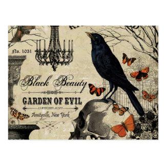modern vintage halloween crow and skull postcard