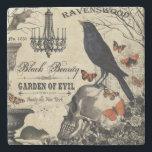 "modern vintage halloween crow and skull stone coaster<br><div class=""desc"">modern vintage halloween crow and skull</div>"