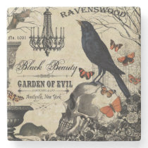 modern vintage halloween crow and skull stone coaster